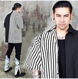 Half Striped Contrast Short Sleeves Shirts 287