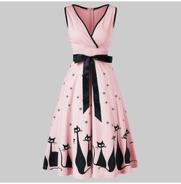 Cat Print Midi Pink Dress