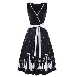 Cat Print Midi Black Dress