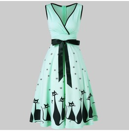 Cat Print Midi Green Dress