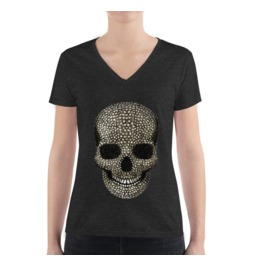 Beaded Skull Deep V Neck