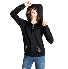 Long Sleeves Side Pockets Hooked Rings Hooded Outerwear