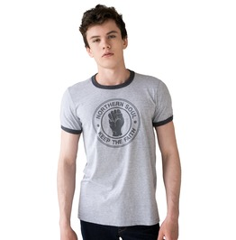 Northern Soul Ringer T Shirt Keep The Faith Logo Distressed 70s 60 Mods Tee
