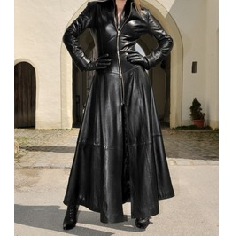 Women Gothic Full Length Jacket Sexy Victorian Steampunk Leather Trench Coa