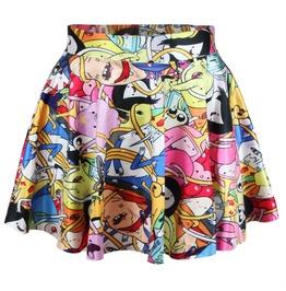 Adventure Time Printed High Waist Pleated Mini Skirts Women's Bottom