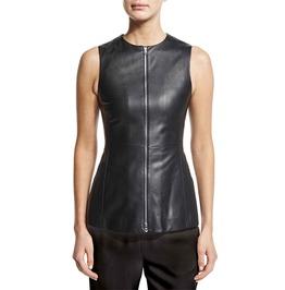 Women Genuine Leather Peplum Top Sleeveless Shirt Vest Slim Fit Neckline