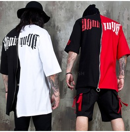 Half Contrast Back Zippered T Shirts 999