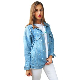 Pearl Bead Retro Long Sleeve Denim Jacket