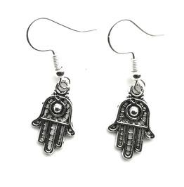 Peace Small Tibetan Silver Plated Jain Hand Symbol Design Earrings