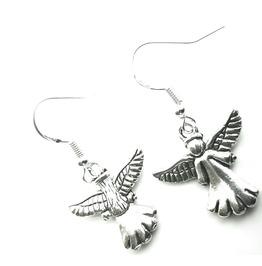 Angelic Tibetan Silver Plated Angel Earrings Front & Back Design