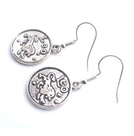 Leo Small Tibetan Silver Plated Round Leo Lion Starsign Design Earrings