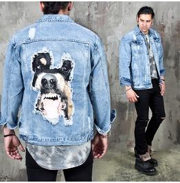 Bulldog Printed Distressed Denim Jacket 339