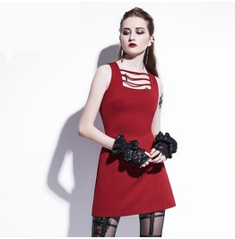 Red Hollow See Though Sleeveless Goth See Though Summer Womens Mini Dress