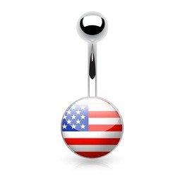Usa Flag Inlaid & Clear Epoxy Covered 316 L Surgical Steel Belly Button Ring