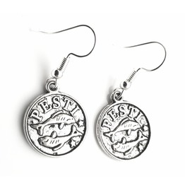Astrology Small Tibetan Silver Plated Round Pisces Starsign Earrings