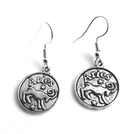 Ram Small Tibetan Silver Plated Round Aries Ram Starsign Design Earrings
