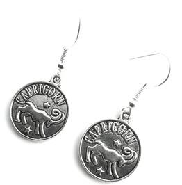 Goat Small Tibetan Silver Plated Round Capricorn Starsign Design Earrings