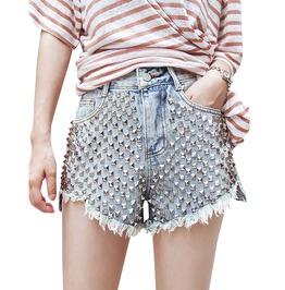 Punk Rock Studded High Waist Denim Shorts