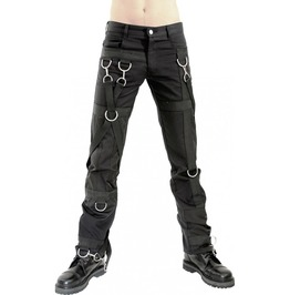 Gothic Mens Girdle Denim Pants Black Punk Rock Star D Rings Pants