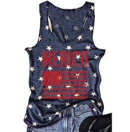 """Merica"" Stars Us Flag Sexy Tank Top"