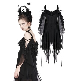 Dw176 Gothic Flowing Chiffon Dress With Flounces And Sexy Silk Ribbon Rope