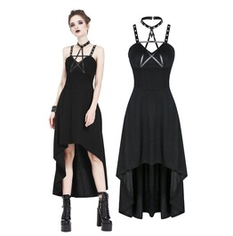 Dw184 Punk Knitted High Low Dress With Leather Star Across Neck