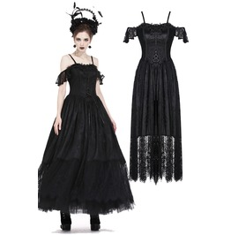 Dw186 Gothic Gorgeous Lace Long Dress With Special Flower And Rope On Front