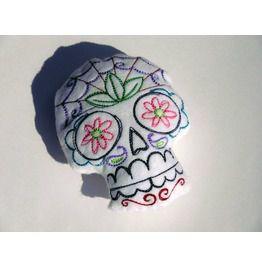 Mexican Sugar Skull Stuffie Plushie Pincushion