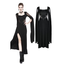 Dw191 Gothic Long Knitted Dress With Star Hollow Out Design And Super Long
