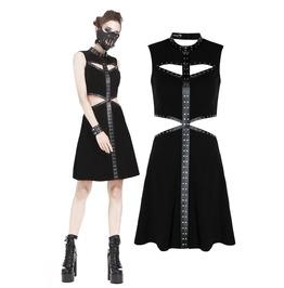 Dw194 Punk Elastic Black Dress With Rivet Strap Hollow Out Design