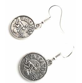 Astrology Varsator Tibetan Silver Plated Aquarius Starsign Design Earrings