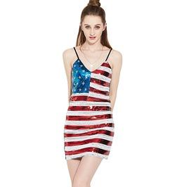 Patriotic V Neck Star And Stripes Slim Dress