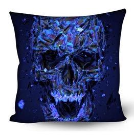 Unique Colorful Illuminate Blue Skull Print Pillow Case
