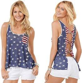 All American Ribbon Backless Loose Fit Top