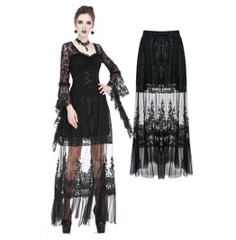 Kw128 Gothic Long Skirt With Flower Hollow Out Design
