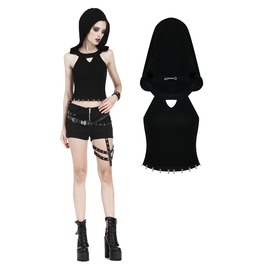 Tw159 Punk Sleeveless T Shirt With Cap And Metal Midriff Baring Design