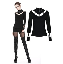 Tw172 Punk Long T Shirt With Eyelet Hollow Out Collar Design