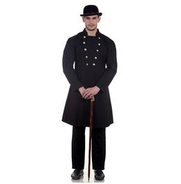 Classic Victorian Black Double Breasted Long Sleeves Gentlemen Coat