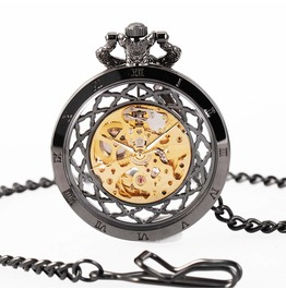 Men Antique Mechanical Hand Winding Steampunk Hollow Skeleton Pocket Watch