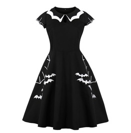 Gothic Round Collar Embroidered Bat Black And White Dress