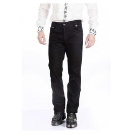 Gothic Mens Military Officer Trousers Black Steampunk Pentagramme Pants