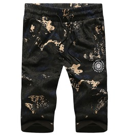 Plus Size L 8 Xl Elastic Waist Knee Length Straight Camouflage Shorts Men
