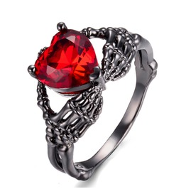Rhinestone Skeleton Hands Ring