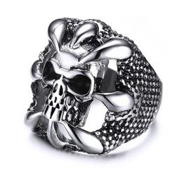 Stainless Steel Sharp Claws Grabbing Red Eye Skull Head Men Ring