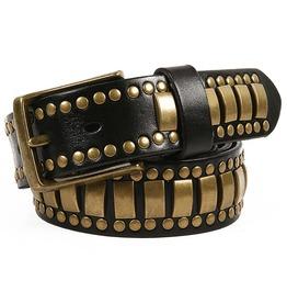 Unisex's Multi Rivet Studded Rhinestone Faux Leather Belt