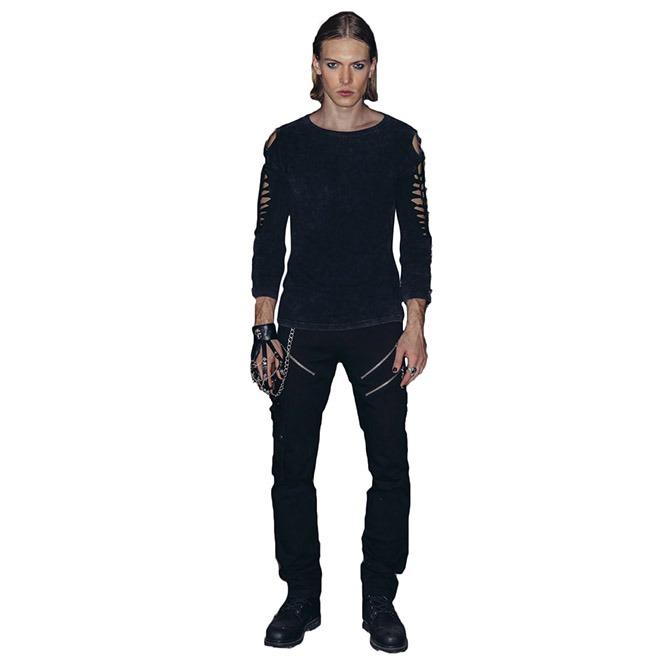 91efb5ea9fa8b Broken Pattern Open Hole Sleeves Gothic Punk Long Sleeves Shirt Men