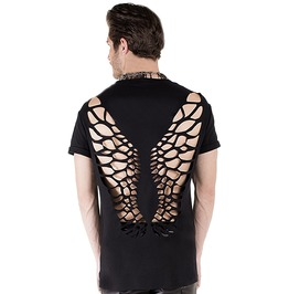Goth Punk Hollow Out Wings Backless Black T Shirt Men