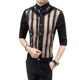 Transparent Hollow Out Patchwork Stripe Lace Design Slim Fit Dress Shirt