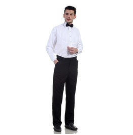 Classic Victorian Men's Black Straight Cut High Waist Trousers
