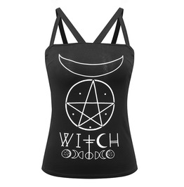"Black ""Witch"" Print And Symbols Spaghetti Strap Top"